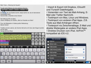 Textkraft App auf Apple Tablet iPad